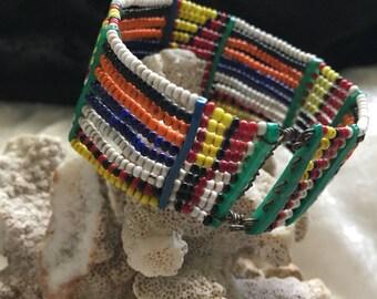 AFRICAN MASAI - Vintage Beaded Cuff Bracelet