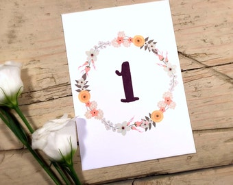 Beautiful Rustic Floral 'Norah' Wedding Table Numbers/Name Cards/Tags
