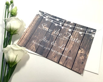 Rustic Wooden Save the Date Wedding Postcard