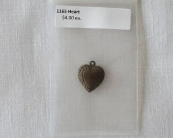 1165 Heart charm, embrossed bronze, double sided