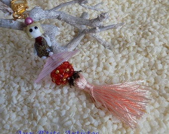 "Key ring, jewel bag, ""Léa"" lampwork glass bead"