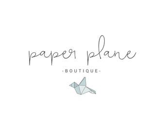 Origami Photography Logo | Boho Logo | Cursive logo | Paper Bird Logo | Calligraphy logo | Boutique Logo | Origami Logo | Boutique logo