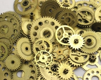 40g Antique Brass GEARS ONLY 0.5-1.6 Inch Medium to Large CLocK Watch Style STEAMPUNK Wheels Cogs Parts Pieces