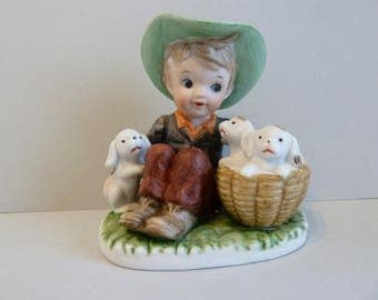 Maxam, Hand Painted Porcelain, Boy w/ Puppies Figurine