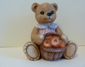 Homco #1405, Bear Figurine w / Basket of Apples