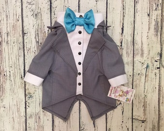 Grey dog tuxedo with turquoise bow tie  Custom made dog wedding attire  Evening dog outfit Swallow-tailed coat for dog Birthday dog costume