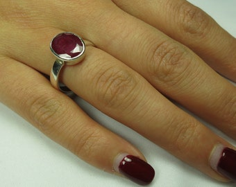 Ruby silver ring, faceted, 92.5 sterling silver, size 6.5 US, free shipping