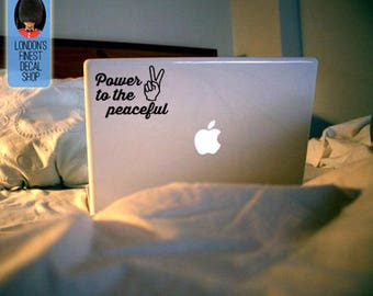 Power to the peaceful Macbook / Laptop Vinyl Decal