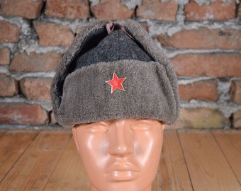 Vintage hat - Military hat - Military cap - Red star hat - Soldier hat - Winter hat - WW2 model cap - Trapper hat - Ushanka hat