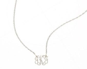 Petite Sterling Silver Monogram FIligree Necklace - Interlocking Collection