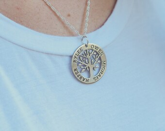 Small Sterling Silver Family Tree Pendant Necklace