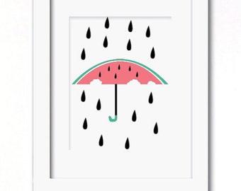 A4 watermelon rain print available