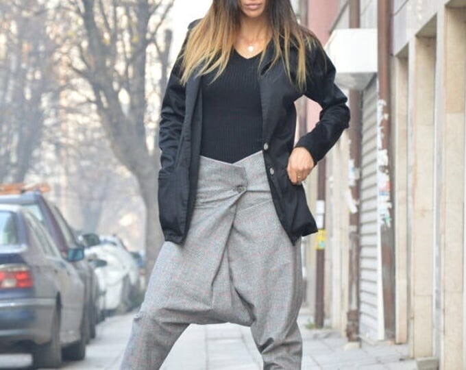 Harem Pants, Loose Casual Drop Crotch High Waist Pants, Extravagant Maxi Trousers By SSDfashion