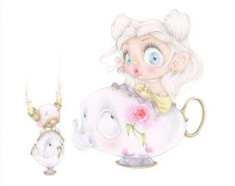disney beauty beast chip mrs potts pop surrealism movie art print