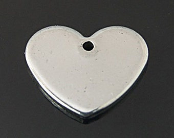 Heart Stamping Blanks Metal Stamping Blanks Stainless Steel Blanks Heart Charms Heart Pendants Engraving Blanks Blank Charms Blank Heart 10