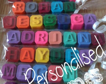 PER LETTER - Personalised Crayon name Wax Crayon, Party Favour, Weddings, Gifts, Stocking Fillers, Colouring, Birthday, Christmas, Non-Toxic