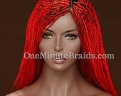 Fiery Red Twisted Braided Wig with 3-way part lace. Long.