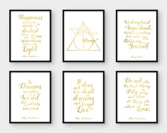 Harry Potter Print. Set of 6. Albus Dumbledore Quote. Printable Poster. Happiness. After All. Working Hard. In Dreams. Wall Art Decor