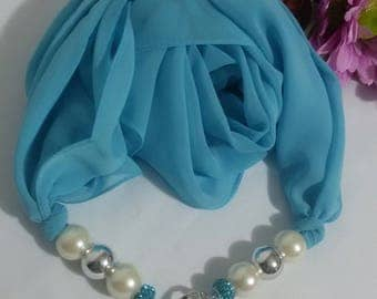 jewel blue silk and viscose scarf with nickel inserts