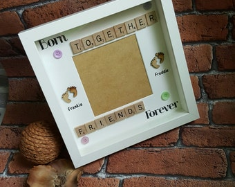 Twins Photo Frame, Born Together Friends Forever, Handmade Scrabble Style Picture Frame, New Baby Photo Frame,