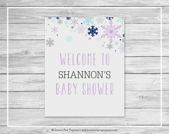 Winter Baby Shower Welcome Sign - Printable Baby Shower Welcome Sign - Baby It's Cold Outside Baby Shower - Welcome Sign - EDITABLE - SP143