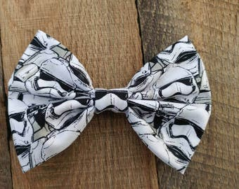 Star wars inspired hair bow, star wars inspired bow, stormtrooper hair bow, fabric hair bow, hair bow, stormtrooper, star wars, bow