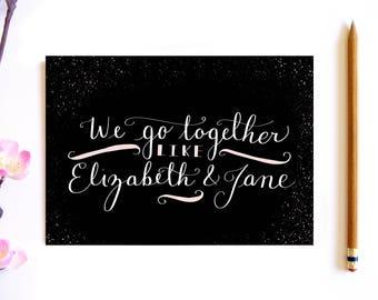We Go Together Like Elizabeth And Jane - Best friend Gift - Bookworm for Her - Jane Austen Pride and Prejudice Card - Book Lover Gift