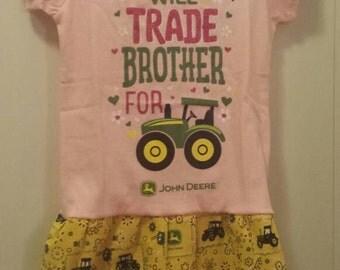 Handmade John Deere dress. Size 2t. Tractor. Country girl.