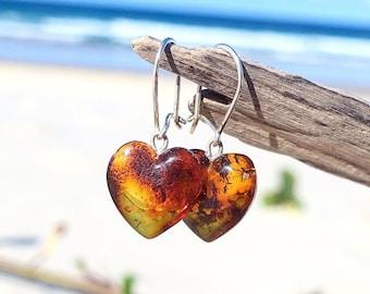 Girls Drop Dangle Earrings, Baltic Amber Heart Dangle Drop Earrings, Heart Shaped Earrings, Heart Jewelry, Amber Jewelry,