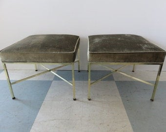 Pair Of Paul McCobb Mid-Century Modern Brass X Benches/Stools, Re-Upholstered With Silk Velvet Fabric.