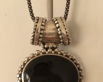 Vintage Sterling Silver and Black Stone/Onyx Pendant and Popcorn Chain