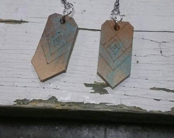 Leather Earrings - Hand Painted