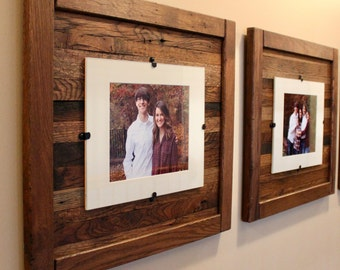 set of 2 rustic wood frames reclaimed wood frame 8 x 10 picture frame with mat 11 x 14 picture frame without mat free shipping