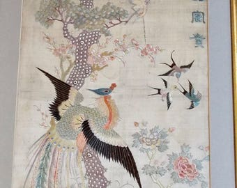 Antique Chinese Silk Embroidery Birds Phoenix Calligraphy