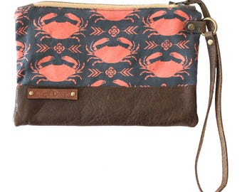 crab clutch silkscreened on linen made by Noepe Design