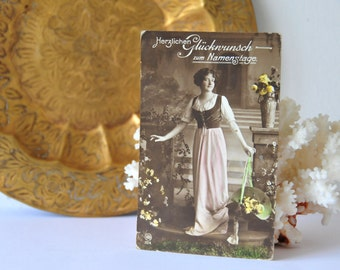 Antique Colored Sepia Postcard, Vintage Lady with Flowers Postcard, Vintage German Postcard