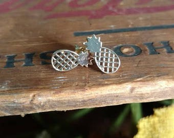 Gold Pineapple Studs Summer Earrings Tropical Fashion Jewelry