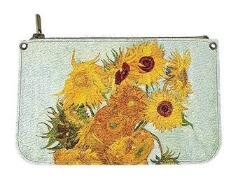 Genuine leather cosmetic bag - Makeup case - Cosmetic bag - Handmade cosmetic case - Original gift for woman - Sunflowers - Van Gogh - #038