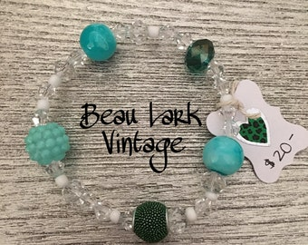 Turquoise and Seafoam Beaded Bracelet