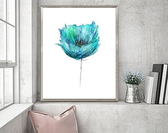 Watercolor Painting, Blue Flower Art Print from Original Painting, Girl Wall Decor, Girl Gift -  60