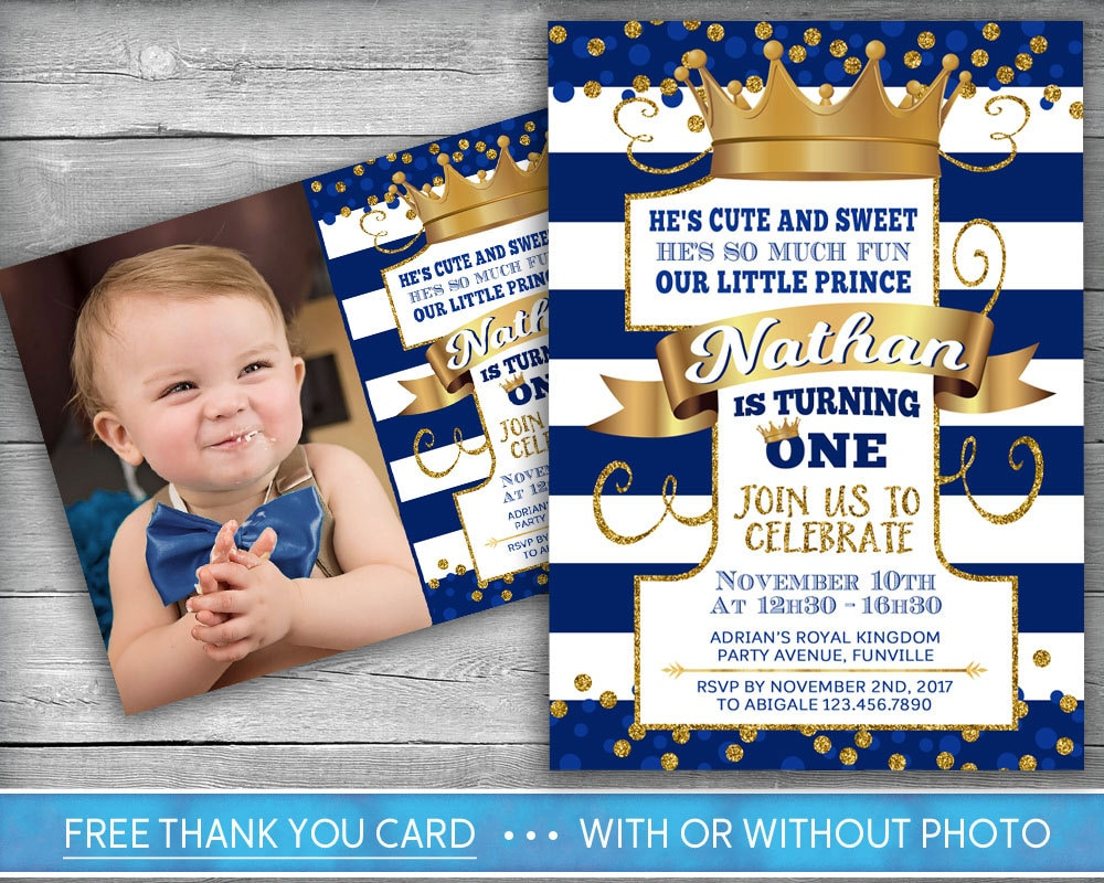 Prince Invitation Little Prince First Birthday Number One – Prince 1st Birthday Invitations