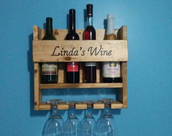 Best seller!! Handmade Rustic Personalized Wooden Wall Mounted Wine & Wine Glass Rack/ Wine Holder/ Personalized Wedding Gifts