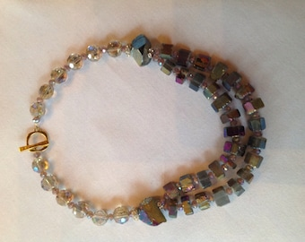 Double strands of titanium coated quartz necklace