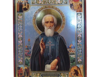 Saint Sergius of Radonezh russian icon - #33bb