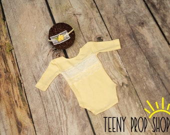 Newborn Romper & Head Tie Back Set, Yellow Lace Romper Set, Newborn Set, Newborn Photo Prop, Long Sleeved, Upcycle, White Lace Outfit