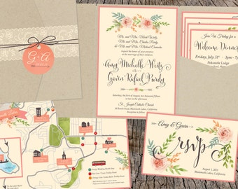 Mountain Floral Wedding Invitations
