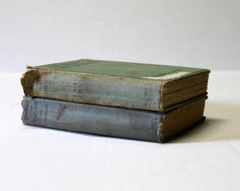 Vintage Book Set, Book Stack, Decorative Books, Old Books, Antique Books, Book Bundle, Collection, Display, Blue | Gray