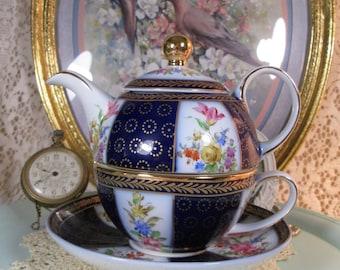 Tea for One, Lidded Teapot, Teacup & Saucer, Lillian Vernon, Floral, Cobalt Blue and Gold