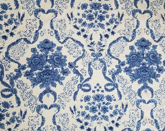 Blue and ivory fabric by Schumacher // upholstery fabric // designer fabric // floral fabric // fabric remnant // home decorator fabric