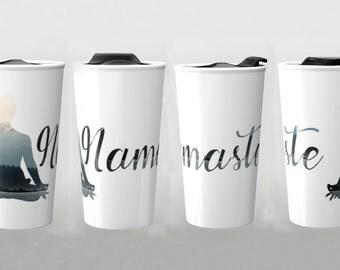 yoga travel mug yoga mug namaste mug yoga gift travel mug ceramic